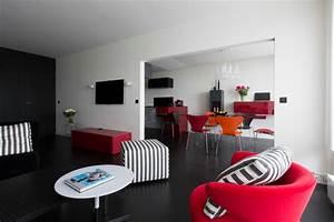 cuisine salon et chambre thematique rouge et noir With cuisine rouge et noir