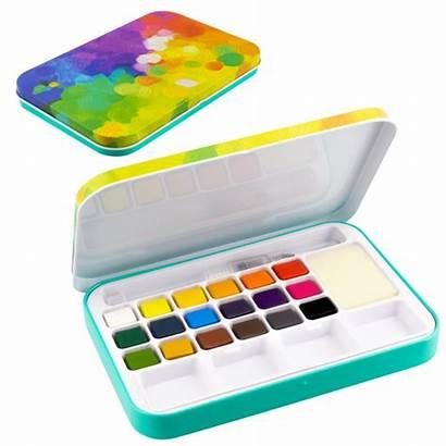 Eau Palette Watercolor Aquarelle Couleurs Boite Aquarellkasten