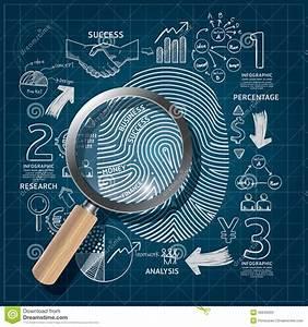 Business Fingerprint Doodles Line Drawing Blueprint Success  Stock Vector