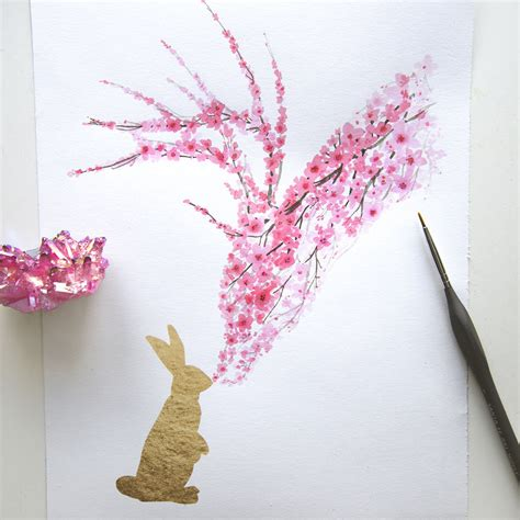 watercolor cherry blossom animals bored panda