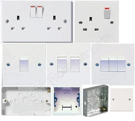 Amp White Plastic Electrical Switch Sockets Fitting