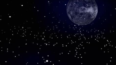 Cartoon Night Full Moon Shooting Stars Stock Footage Video