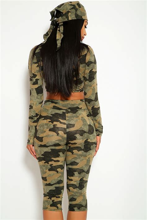 Cute Camouflage Two Piece Casual Outfit