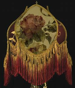 Vintage victorian lamp shade fringed beaded roses wow ebay for Antique floor lamp with fringed shade
