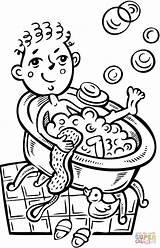 Coloring Bath Bubble Taking Boy Pages Bathroom Pajamas Drawing Printable Take Clipart Little Foam Bubbles Supercoloring Boys Cartoon Printables sketch template