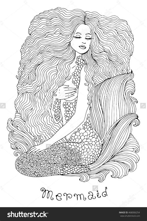 sea mermaid with long wavy hair and beautiful patterned
