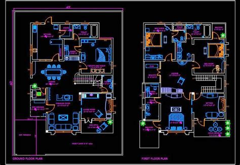 duplex house  autocad house plan drawing    images simple house