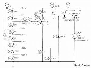 Fet Ac Voltmeter - Measuring And Test Circuit - Circuit Diagram