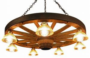 Large wagon wheel chandelier with downlights rustic