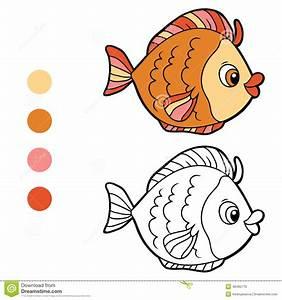 Malbuch Fr Kinder Fische Vektor Abbildung