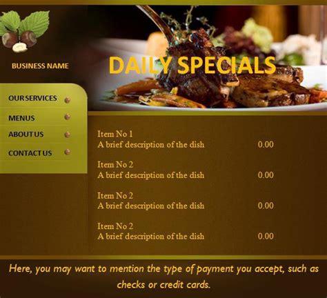menu card template menu card templates free