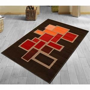 tapis moderne tapis natachab marron et bordeaux taille With tapis yoga avec plaid orange pour canapé