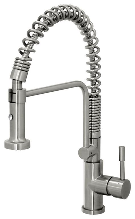 Coiled Kitchen Faucet by Geyser Stainless Steel Commercial Style Coiled