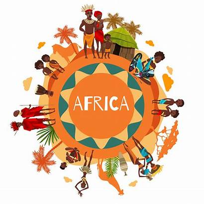 African Symbols Cultural Vector Poster Round Composition