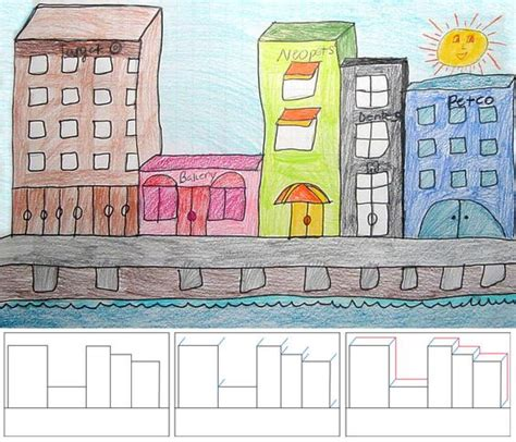 art projects  kids   draw city buildings art