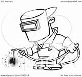 Welding Welder Outline Cartoon Coloring Pages Clip Vector Brazing Iron Funny Drawing Worker Designs Weld Cartoons Line Clipart Illustration Tattoo sketch template