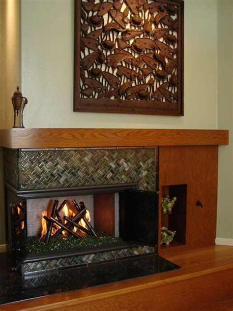 Glass Bamboo Fireplace Surround   Designer Glass Mosaics