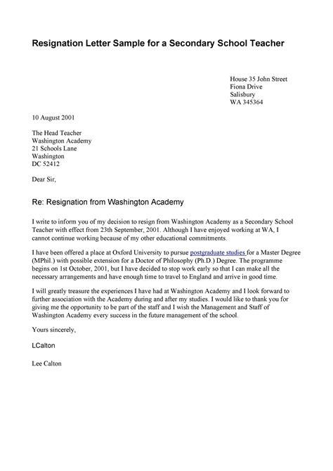 Best Resignation Letter For School   Letter Template