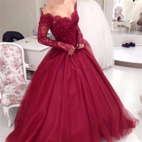 Elegant Ball Gown Lace Burgundy Prom Dresses 2017 Long