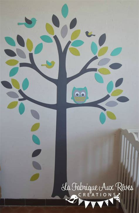 stickers chambres stickers arbre turquoise vert anisle gris hibou oiseaux