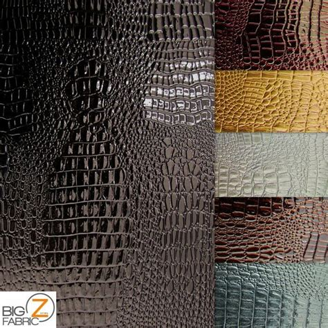 Buy Leather Upholstery Fabric by Vinyl Pleather Embossed Shiny Crocodile Fabric By