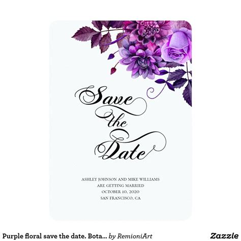 Purple floral save the date Botanical wedding Invitation