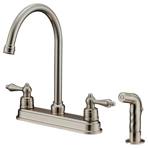 Goose Nose Kitchen Faucets With Sprayer, 8 Inches Spread
