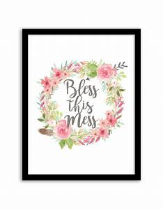Free Printable Bless this Mess Floral Wreath Wall Art