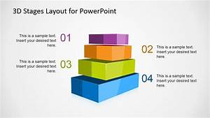 3d Stages Layout Template For Powerpoint With 4 Levels