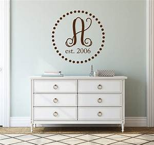 single letter wall decal family name initial year established With single letter wall decals