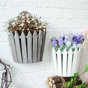 Whism, Wooden, Fence, Artificial, Flowers, Basket, Wood, Decorative, Fake, Flower, Wall, Hanging, Container