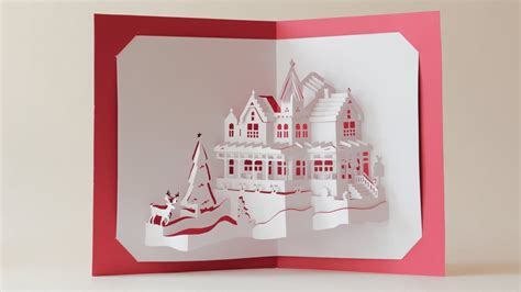 pop up card box template christmas world dual layers house pop up card