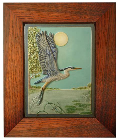 framed ceramic tile taking flight tile 6x8 inches