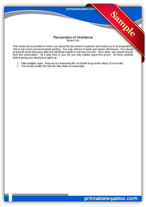printable renunciation  inheritance legal forms