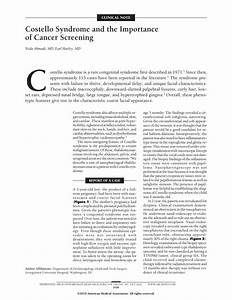 Costello Syndrome And The Importance Of Cancer Screening