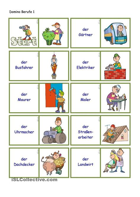 dominoberufe  deutsch lernen berufe und deutsche sprache