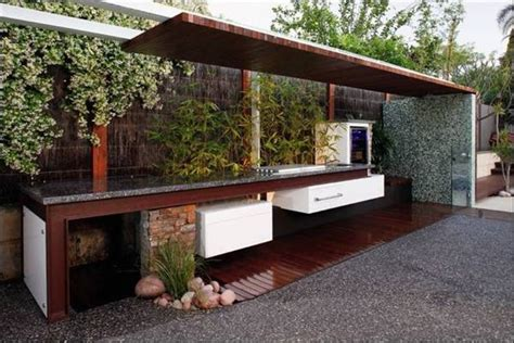 outdoor bbq kitchen ideas modern and concrete outdoor kitchen with bamboo