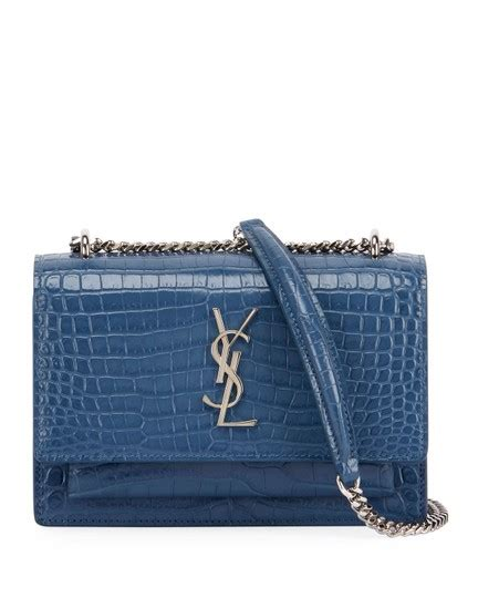 saint laurent wallet  chain monogram sunset croc embossed denim blue shiny leather cross body