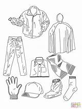 Coloring Clothes Pages Shoes Various Printable Paper sketch template