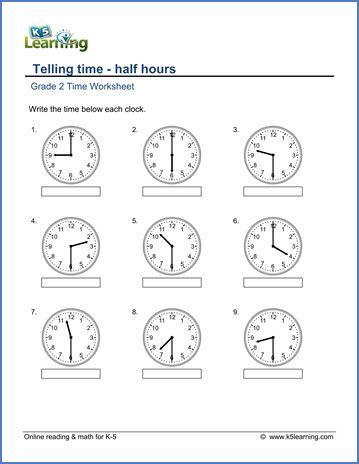 grade  telling time worksheet  telling time