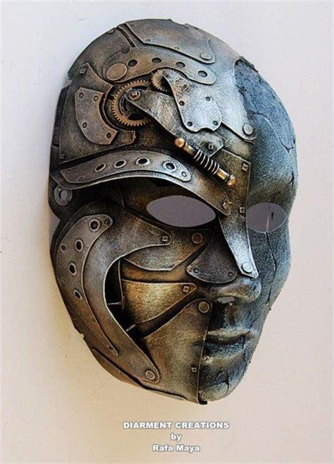 steampunk metal stone mask   diarmentcreations  etsy