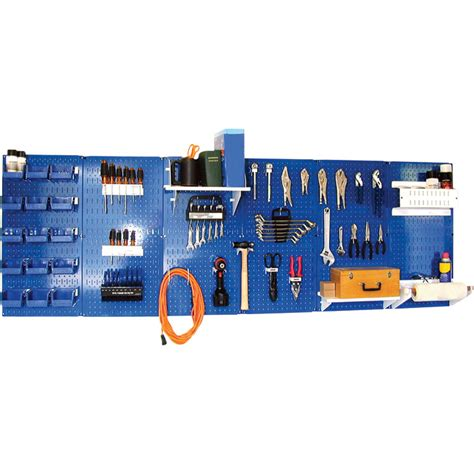 wall control industrial metal pegboard blue