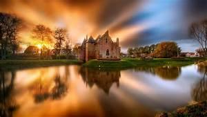 Castle Lake Sunset Netherlands Hd Wallpaper