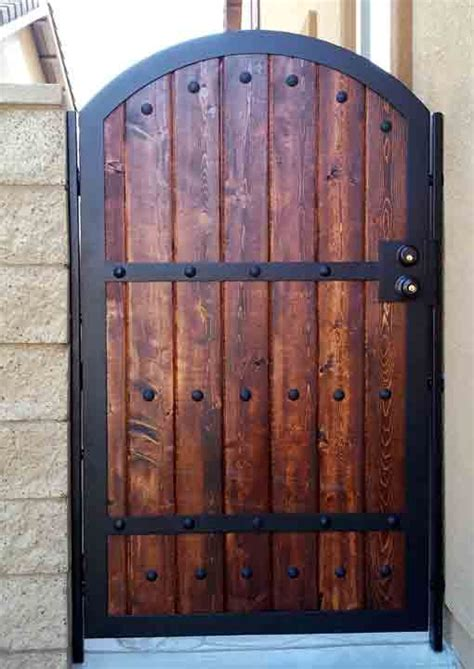 wood iron gates iron wood combination gate designs