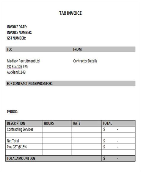 contractor invoices