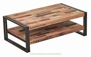 Table De Salon Industrielle : table basse rectangulaire indus en m tal et de bois de bateau recycl ~ Teatrodelosmanantiales.com Idées de Décoration