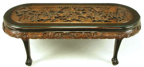 Overall top wood carving and. Chinese Oval Coffee Table with Hand-Carved Battle Scene ...