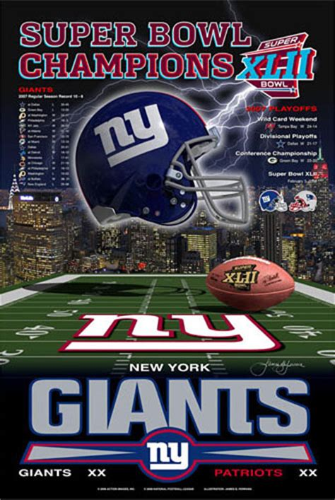 New York Giants Super Bowl Xlii Championship Poster Photo