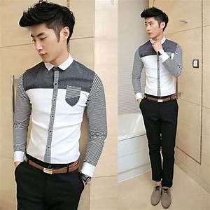 2014 Spring Newest Stripe Patchwork Slim Korean Style Cool ...