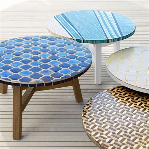 mosaic tiled coffee table top driftwood base